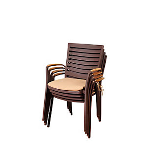 Clemente Teak/Cast Aluminum Arm Chair (Set of 4), , rollover