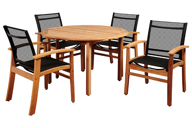 Maliana 5-Piece Teak Round Dining Set, , large
