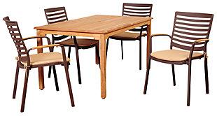 Clemente 5-Piece Teak Rectangular Dining Set, , large