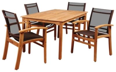 Image of Clemente 5-Piece Teak Rectangular Dining Set, Brown