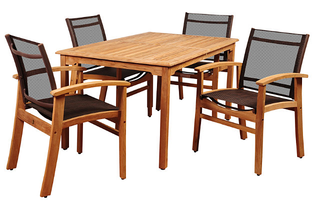 Clemente 5-Piece Teak Rectangular Dining Set, , large