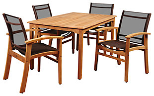 Maliana 5-Piece Teak Rectangular Dining Set, , large