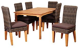 Amazonia 7-Piece Teak Rectangular Dining Set, , large