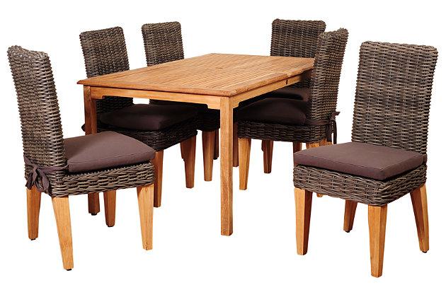 Maliana 7-Piece Teak Rectangular Dining Set, , large