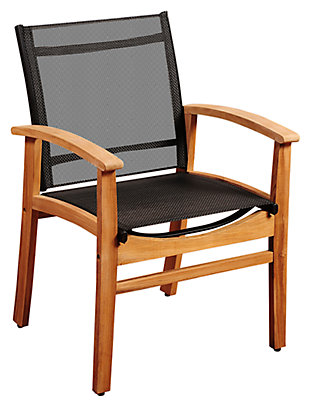Guam Teak Dining Armchair with Black Textile Sling, Black, large