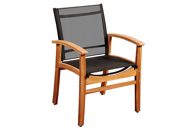 Amazonia Fortuna Teak Dining Armchair with Black Textile Sling, , large