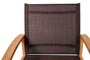 Amazonia Teak Dining Armchair with Brown Textile Sling, , large