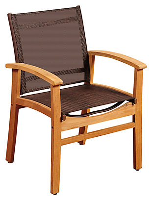Guam Teak Dining Armchair with Brown Textile Sling, , large