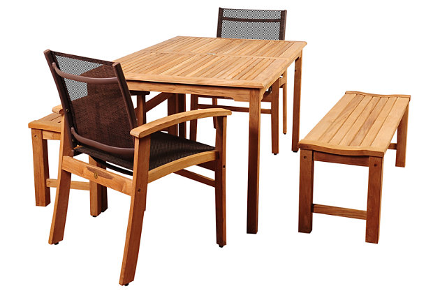 Amazonia 5-Piece Teak Rectangular Dining Set, , large