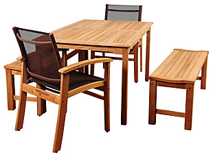 Guam 5-Piece Teak Rectangular Dining Set, , large