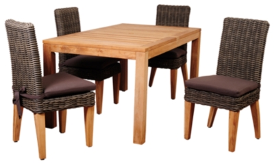 Teak Rectangular Dining Set Brown Piece Product Photo 238