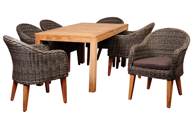 Guam 7-Piece Teak Rectangular Dining Set, , large