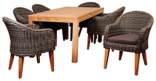 Guam 7-Piece Teak Rectangular Dining Set, , rollover