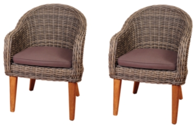 Ashley Guam Teak Wicker Arm Chair Set