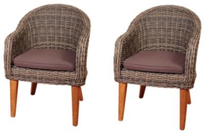 Ashley Guam Teak Wicker Arm Chair Set