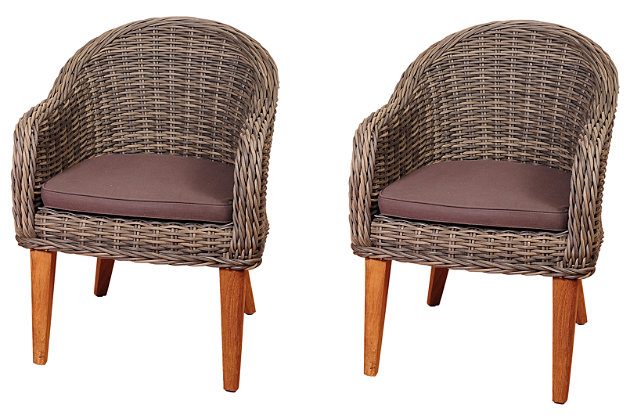 Amazonia Guam Teak/Wicker Arm Chair Set (Set of 2) by Ashley HomeStore, Gray
