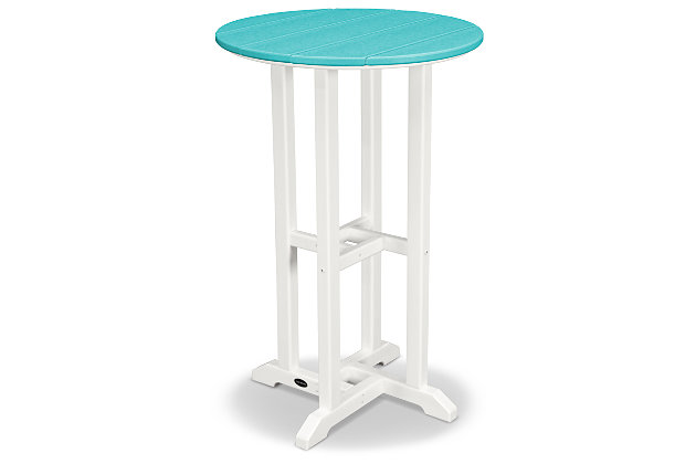 "POLYWOOD Contempo 24"" Round Counter Table, Turquoise, large"