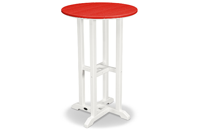 "POLYWOOD Contempo 24"" Round Counter Table, Red, large"