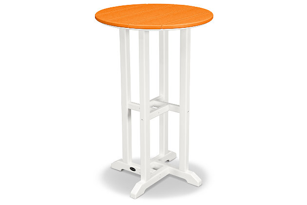 "POLYWOOD Contempo 24"" Round Counter Table, Tangerine, large"
