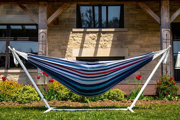 Patio Hammock with Stand, Blue, large