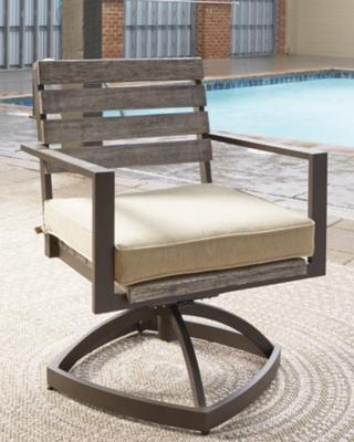 Ashley Peachstone Swivel Chair (Set of 2), Beige/Brown