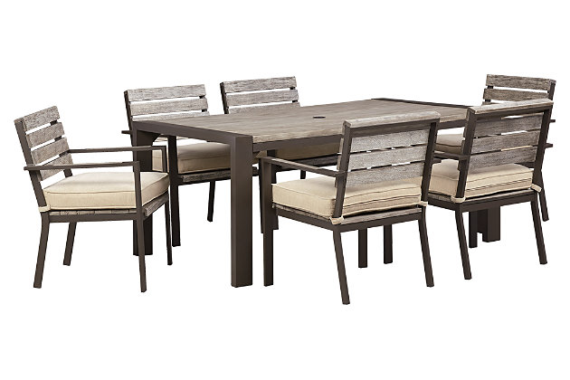 Peachstone 7 piece outdoor rectangular dining set ashley for Homestore and more outdoor furniture