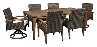 Paradise Trail Outdoor Dining Table and 6 Chairs, , large