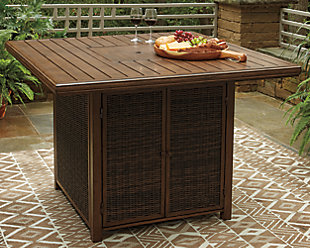 Paradise Trail Bar Table with Fire Pit, , large