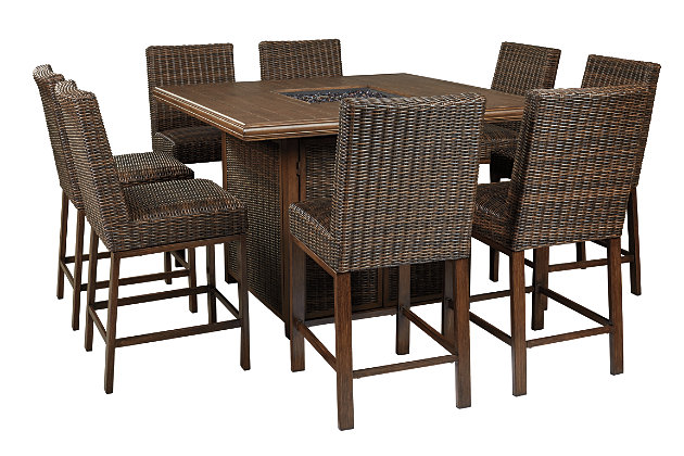 Paradise Trail Outdoor Dining Table and 8 Chairs, , large