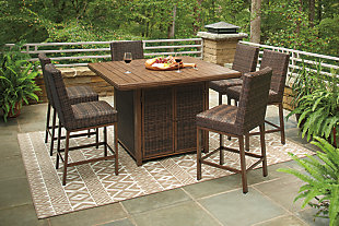 Paradise Trail Outdoor Dining Table and 6 Chairs, , rollover