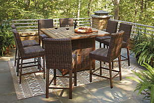Paradise Trail Outdoor Dining Table and 8 Chairs, , rollover