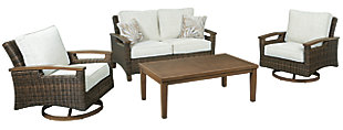 Paradise Trail Outdoor Loveseat and 2 Chairs with Coffee Table, , large