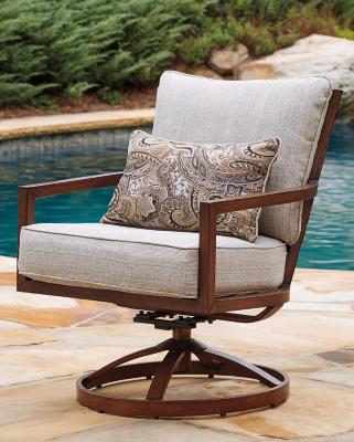 Ashley Zoranne Swivel Lounge Chair (Set of 2), Beige/Brown