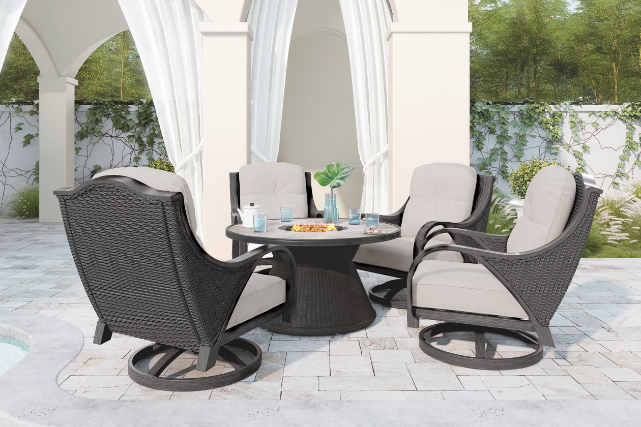 Wondrous Marsh Creek 5 Piece Outdoor Conversation Set Ashley Bralicious Painted Fabric Chair Ideas Braliciousco