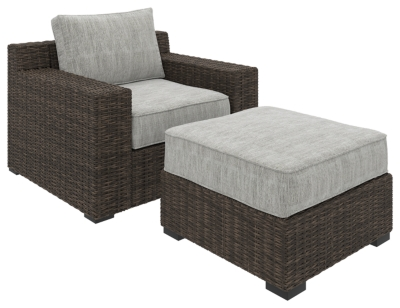 Alta Grande Outdoor Lounge Chair with Ottoman, Beige/Brown