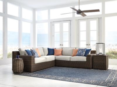 Image of Alta Grande 3-Piece Outdoor Seating Set, Beige/Brown