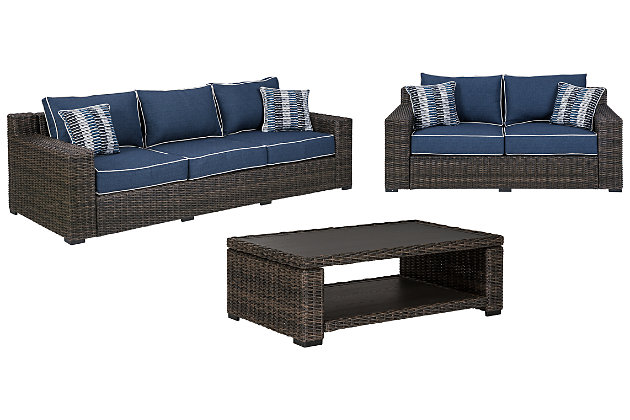 Grasson Lane Outdoor Sofa and Loveseat with Coffee Table, , large