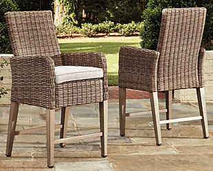 Beachcroft Bar Stool with Cushion (Set of 2), , large