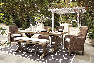Beachcroft Outdoor Dining Table and 4 Chairs and Bench, , large