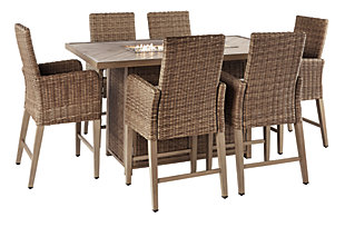 Beachcroft 7-Piece Outdoor Bar Table Set, , large