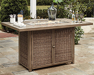 Beachcroft Bar Table with Fire Pit, , large