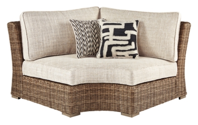 Picture of: Beachcroft Outdoor Curved Corner Chair With Cushion Ashley Furniture Homestore