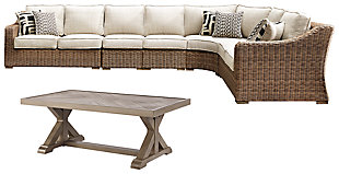 Beachcroft 3-Piece Outdoor Sectional with Chair and Coffee Table, , large