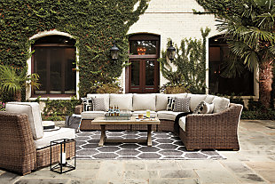 Beachcroft 3-Piece Outdoor Sectional with Chair and Coffee Table, , rollover