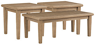 Gerianne Outdoor Coffee Table with 2 End Tables, , large