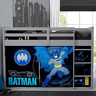 Delta Children Twin Low Loft Bed with Batman Tent/Curtain Set, , rollover