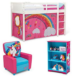 Delta Children Jojo Siwa Twin Low Loft Bed Bedroom Bundle, , large