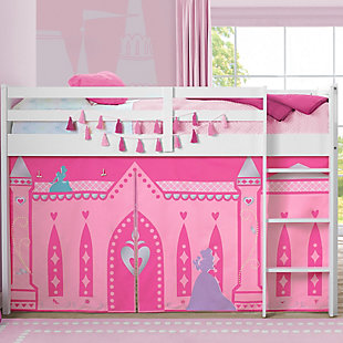 Delta Children Twin Low Loft Bed with Princess Tent/Curtain Set, , rollover