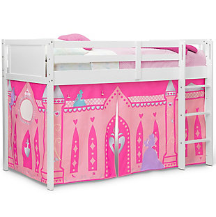 Delta Children Twin Low Loft Bed with Princess Tent/Curtain Set, , large