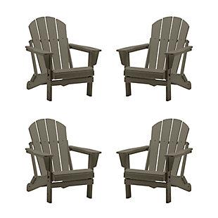 Westin Furniture Newport Folding Poly Adirondack Chair (Set of 4), Weathered Wood, large